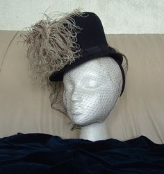 VINTAGE 40s Navy Blue Riding Style Hat by fadedrosevintage on Etsy, $60.00