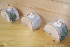Birch Half Log Tea Light Candle Holders - Set of 3 with Natural Green Lichen, Shabby Chic, Rustic Decor, Wedding Decor, Autumn Wedding : Candles Candle Holder Set, Tealight Candle Holders, Tea Light Holder, Jar Candles, Candleholders, Tree Crafts, Wood Crafts, Diy Crafts, Primitive Christmas