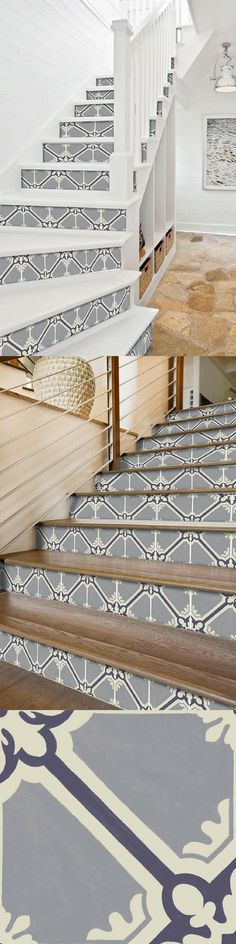 Des stickers pour relooker des escaliers et habiller les contremarches ! Hall Flooring, Flooring For Stairs, Concrete Stairs, Steel Stairs Design, Staircase Design, Painted Staircases, Painted Stairs, Deck Stair Railing, Stair Renovation