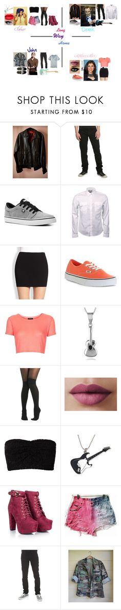 """""""Arts School:Long Way Home by 5 Seconds Of Summer"""" by glee2shake ❤ liked on Polyvore featuring Ben Sherman, Hot Topic, DC Shoes, Gucci, RVN, Vans, Topshop, Tressa, Pretty Polly and LORAC"""