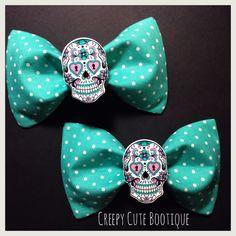 Sugar Skull Polka Dot Hair Bow/ Bow Tie by CreepyCuteBootique on Etsy