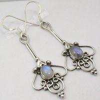925 Sterling Silver Fabulous RAINBOW MOONSTONE UNUSUAL HANDWORK Earrings 5.4 CM