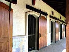 every nice double horse stall doors for summer breeze and winter cover.