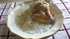 Roasted chicken wing w/jasmine rice and homemade gravy.