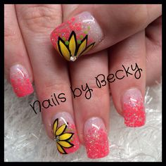 Nails by Becky faded chunky orange glitter and flowers