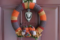 Crocheted Fall Wreath, Pumpkin Wreath, Fall Leaves Wreath, Thanksgiving Wreath…