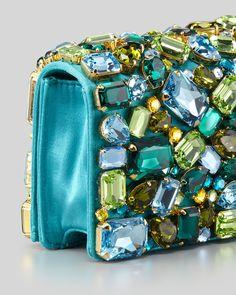 Prada Jeweled Satin Clutch Bag, Turquoise - ♔ Très Haute Bride ♔