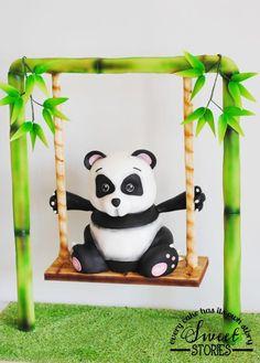 Gravity defying panda cake by Karla Sweet Stories