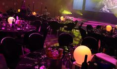 Table Art's Full Moon LED centrepieces with a branded light wrap, turning them into a Light Bulb. Led Centerpieces, Centrepieces, Recent Events, Full Moon, Turning, Light Bulb, Table, Design, Art