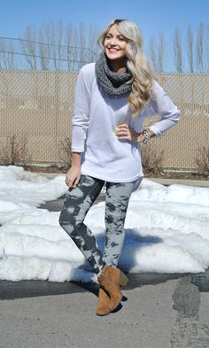 Love the outfit, circle scarves are very in trend right now. Also the patterned leggings make the outfit a little more unique.