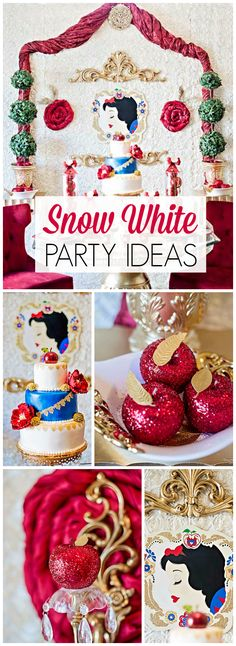 What a lovely Snow White party with enchanting details! See more party ideas at CatchMyParty.com!