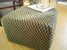 Crochet Blue/Green/White/Gray pouf-ottoman / Knit by GieMarGa