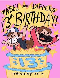 """A recreation of Mabel's birthday party invitation from Disney's Gravity Falls episode: """"Dipper and Mabel Vs. Mabel and Dipper's Birthday! Gravity Falls Dipper, Gravity Falls Poster, Libro Gravity Falls, Gravity Falls Journal, Gravity Falls Fan Art, Gravity Falls Secrets, Gravity Falls Bill Cipher, Dipper Und Mabel, Dipper Pines"""