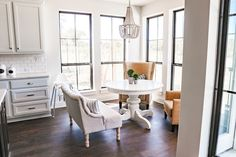New Build Modern Farmhouse Home Tour with Holly Christian Hayes - Breakfast Nook - Beaded Chandelier - Upholstered Chairs - White Table