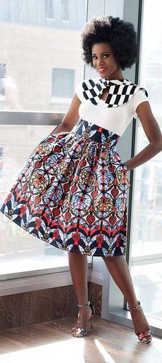 Akiva Ankara African Print Skirt. Evening and party skirt. Made of 100% cotton Ankara African wax fabric. Modern African skirt style. Ankara | Dutch wax | Kente | Kitenge | Dashiki | African print b (Top Design Outfit)