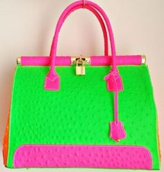 Pink and green handbag