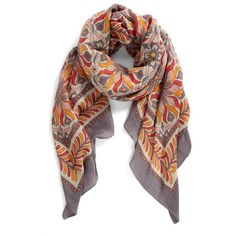 Theodora and Callum 'Bahia' Scarf Womens Coral Multi One Size One Size (275 BRL) ❤ liked on Polyvore featuring accessories, scarves and coral scarves