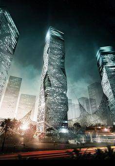 El usos de las texturas y elementos sobresaliente en las edificaciones puede hacer demostrar el paso hacia el futuro que el ser humano puede dar.: