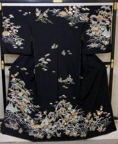 処分超特価:吉澤織物訪問着・丹後ちりめん重目生地・黒地・1_画像1