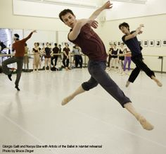 Giorgio Galli and Naoya Ebe with Artists of the Ballet in rehearsal for Hamlet. Photo by Bruce Zinger.