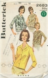 An original ca. 1960's Butterick Pattern 2683.  Misses' Blouse. Convertible collar or collarless overblouse, three quarter length sleeves or sleeveless. (A) Border Print. (D) Patch pockets, top stitch trim.