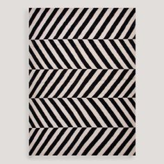 Black Avira Flat-Woven Wool Rug | World Market 5x8 300
