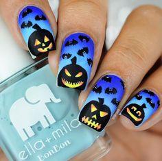 Super fun blue jack o'lantern Halloween Manicure by @lifeisnails using our Bat Cloud Nail Stencils found at snailvinyls.com
