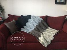 The Algonquin Throw Crochet Blanket Pattern, Chunky Crochet Blanket Pattern, Easy Crochet Blanket Pattern Easy Crochet Blanket, Chunky Crochet, Crochet Blanket Patterns, Faux Fur Pom Pom, Types Of Yarn, Wool Blend, Pattern Design, Knitting, True North