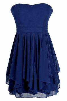 Ruffled Edges Chiffon Designer Dress in Blue/Orange  www.lilyboutique.com