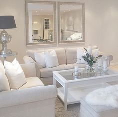 White sofa and mirror