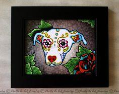 Day of the Dead Pit Bull Sugar Skull Dog Art by PrettyInInkJewelry