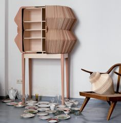 munchkins /// furniture + accordion cabinet, 2011 /// collaboration with elisa strozyk + artist sebastian neeb Wooden Furniture, Cool Furniture, Furniture Design, Cabinet Furniture, Origami Design, Cabinet Design, Contemporary Furniture, Home Accessories, Product Design