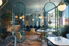 Design Detail – Room Dividers In This Restaurant Help To Define The Seating Areas - Modern Restaurant & cafe interiors - Architecture Restaurant, Architecture Building Design, Interior Architecture, Residential Architecture, Design Exterior, Facade Design, Design Design, Screen Design, Gate Design