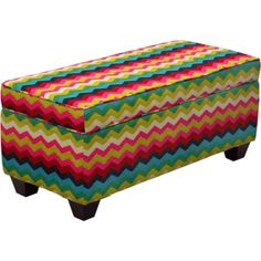 Upholstered End of Bed Storage Bench Ottoman MultiColor Chevron Living Room Shoe