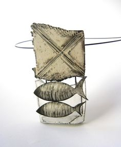 """Okavango"" alias ""Catharsis""- polymer clay and resin pendant by Sonya Girodon."
