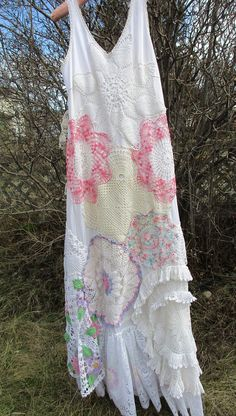 Handmade/Slip Dress/Doily Dress/Art To Wear/Upcycled