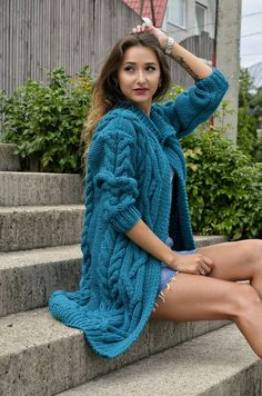 e64fe77d386 Women's cardigan Hand knit cardigan Oversized warm cardigan Oversized  clothing Wool cardigan Cozy coat Knitted coat Gift for her Chunky knit