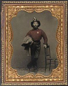 """Frederick Pearce [Pierce] Budden, in the uniform of the New York Volunteer Fire Brigade"" - From the collection of the Museum of New York."