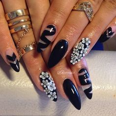 cute acrylic nail designs with rhinestones - Google Search