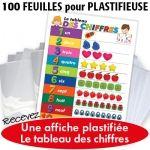 feuilles pour plastifise avec tableau des chiffres en cadeau