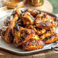 The glaze used on these wings is pretty simple: pale ale mustard, marmalade, honey, curry and a few other ingredients.