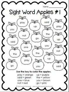 Very simple sentences that include sight words and color