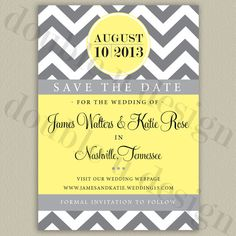 Printable Chevron Save the Date (with color options) by double u design
