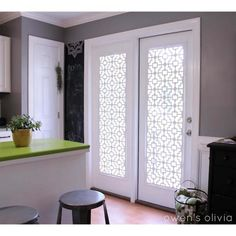 Acurio Latticeworks Fret 32 in. x 4 ft. White Vinyl Decorative Screen Panel-3248PVC-W-FRT - The Home Depot French Door Windows, French Door Curtains, French Doors Patio, Patio Doors, Glass Door Curtains, Balcony Door, Patio Door Blinds, Sliding Door Curtains, Privacy Curtains