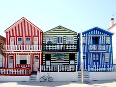 Striped houses in Costa Nova, Aveiro - Portugal Portugal Photos, Visit Portugal, Portugal Travel, Spain And Portugal, Places Around The World, The Places Youll Go, Around The Worlds, Pinterest Foto, Portuguese Culture