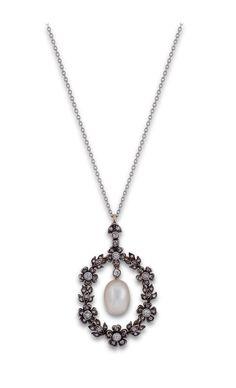Edwardian diamond & pearl garland pendant