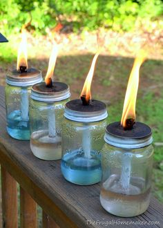 DIY Tiki Torches • Lots of Ideas and Tutorials! Including from 'the frugal homemaker', these DIY mason jar tiki torches.