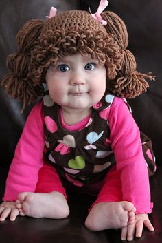 Got a bald baby? ~ Cabbage Patch Inspired crochet hat pattern  : )) @Melanie Bauer Bauer Bauer Bauer Bauer Bauer Bauer Bauer Bauer Bauer Bennett fun idea for halloween.....FIND ADULT SIZE FOR COSTUMES