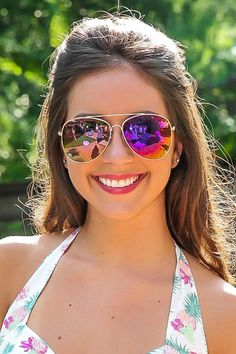 Mirrored Purple sunnies- summer staple that you MUST have.  Repin!