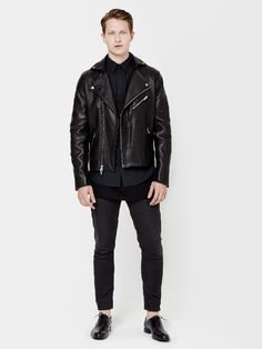 Made of durable South American leather, designed for lasting wear; our modern take on classic 1960's leather biker jackets features rib-knit detail at the back of the waist and the sleeves for a tailored fit.Inspired by the work of architect John Lautner.